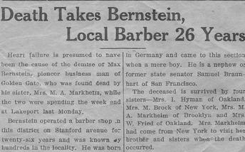 Max Bernstein Obituary 1932 Lakeport California